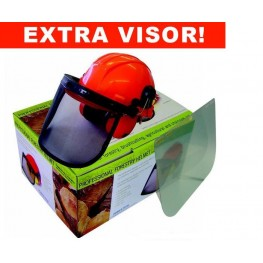 Chainsaw helmet visor ear muff combi Power-Tech22999-4276 with mesh & clear visor